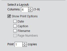 Printing layout for printing contact sheets