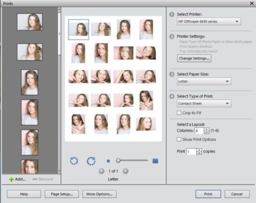 Printing contact sheets in Photoshop Elements 11
