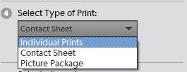 Select print type contact sheet