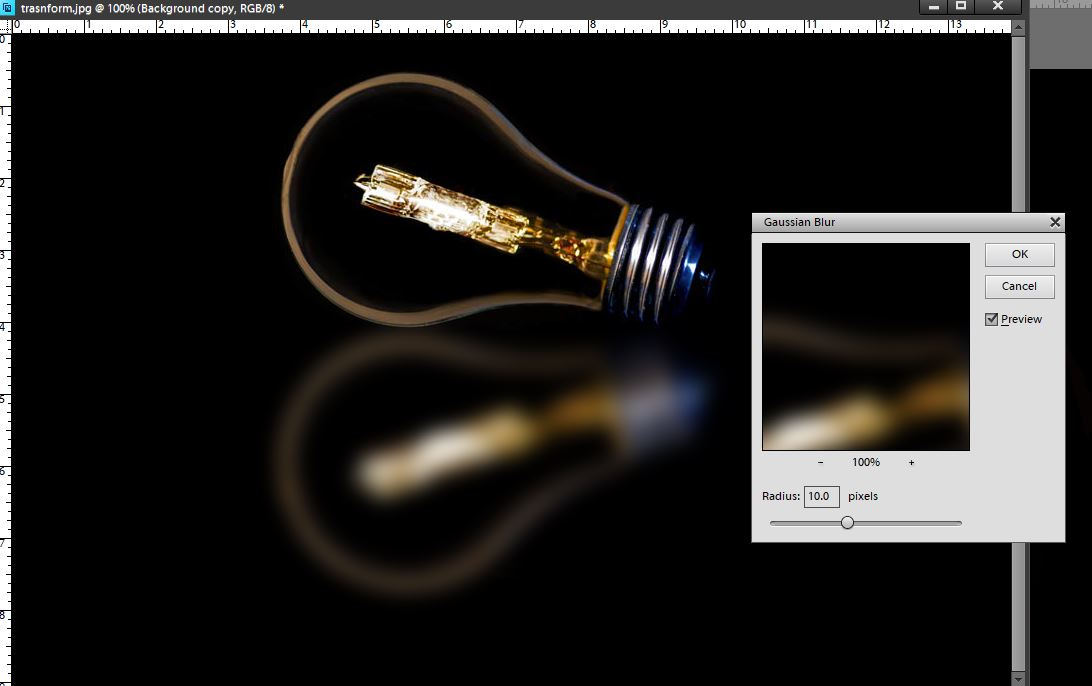 photographing light bulb blur