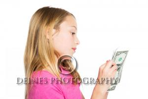 girl counting money concept